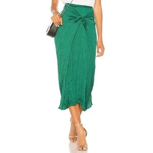 Vince. Green Pleated Tie Front Midi Skirt NWT M